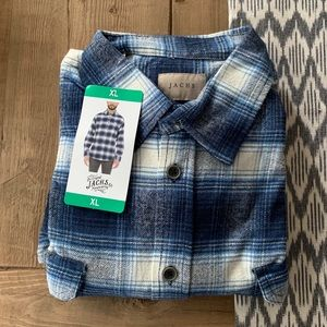 NWT: JACHS Men's Blue and White Flannel